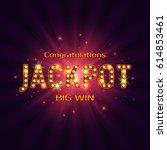 shining retro sign jackpot... | Shutterstock .eps vector #614853461