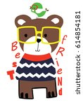 cute animal vector artwork | Shutterstock .eps vector #614854181