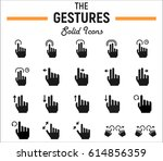 touch gesture solid icon set ... | Shutterstock .eps vector #614856359