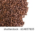 coffee beans isolated on white... | Shutterstock . vector #614857835