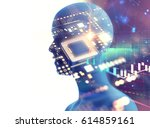 double exposure image of low...   Shutterstock . vector #614859161