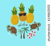 aloha lettering with pineapples ...   Shutterstock .eps vector #614863505