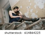 the girl in the old house | Shutterstock . vector #614864225