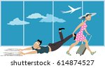 woman dragging a man who's...   Shutterstock .eps vector #614874527