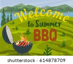summer outdoors concept.... | Shutterstock .eps vector #614878709