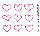 set of hand drawn heart vector | Shutterstock .eps vector #614882051