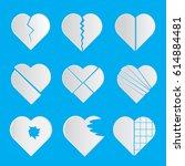 set of heart broken vector    Shutterstock .eps vector #614884481