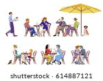 a vector illustration of group... | Shutterstock .eps vector #614887121