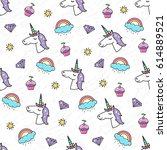 seamless pattern with a magical ... | Shutterstock .eps vector #614889521
