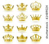 gold crown icons set.... | Shutterstock .eps vector #61489024