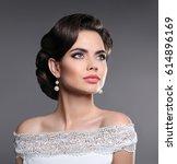 elegant lady portrait. retro... | Shutterstock . vector #614896169
