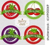 berry labels set  | Shutterstock . vector #614900069