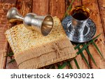 pesach matzo passover with wine ... | Shutterstock . vector #614903021