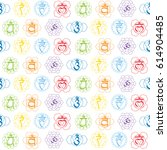 seamless pattern with signs and ... | Shutterstock .eps vector #614904485