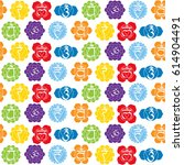 seamless pattern with signs and ... | Shutterstock .eps vector #614904491