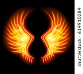 fire wings on the black... | Shutterstock .eps vector #614910284