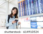 young woman using cellphone in...   Shutterstock . vector #614910524