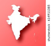 india map isolated on red... | Shutterstock .eps vector #614911385
