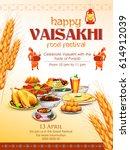 illustration of happy vaisakhi... | Shutterstock .eps vector #614912039