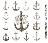 anchor engraved vintage in old... | Shutterstock .eps vector #614916995