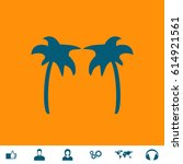 two palm trees. blue symbol... | Shutterstock .eps vector #614921561