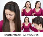 simple hairstyle braided hoop... | Shutterstock . vector #614922845