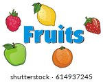 word fruits and fruits fly... | Shutterstock . vector #614937245