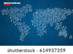 abstract world map of hexagonal ... | Shutterstock .eps vector #614937359