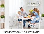 happy family mother  father and ... | Shutterstock . vector #614941685