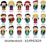 collection of cute stick figure ... | Shutterstock .eps vector #614942624