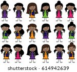 collection of african american ... | Shutterstock .eps vector #614942639