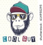 cool monkey chimpanzee dressed... | Shutterstock .eps vector #614950295