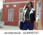 young stylish beautiful woman... | Shutterstock . vector #614950727