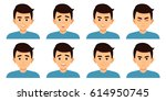 set of asian man expressing... | Shutterstock .eps vector #614950745