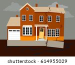 house falling apart because of... | Shutterstock .eps vector #614955029