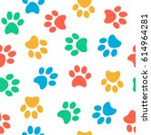 seamless colorful animal paw... | Shutterstock .eps vector #614964281