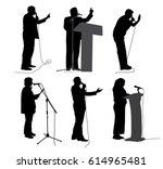 public speaking. motivational... | Shutterstock .eps vector #614965481