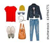 still life of casual clothing... | Shutterstock . vector #614966771