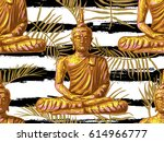 seamless hippie pattern with... | Shutterstock .eps vector #614966777