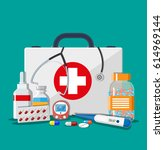 medical first aid kit with... | Shutterstock . vector #614969144