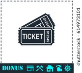 ticket icon flat. simple... | Shutterstock . vector #614973101