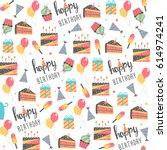 seamless birthday pattern.... | Shutterstock .eps vector #614974241