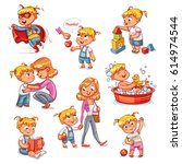 cartoon kid daily routine... | Shutterstock .eps vector #614974544