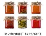 jars of pickled vegetables....   Shutterstock . vector #614976545