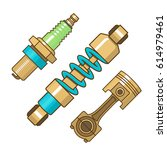 car spare parts  flat style...   Shutterstock .eps vector #614979461