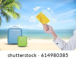 summer holiday  hand people... | Shutterstock . vector #614980385