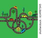 roads junctions concept. vector ... | Shutterstock .eps vector #614987345
