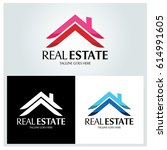 real estate logo design... | Shutterstock .eps vector #614991605