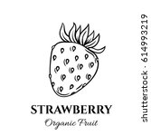 hand drawn strawberry icon.... | Shutterstock .eps vector #614993219