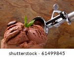 Delicious chocolate ice cream for dessert - stock photo